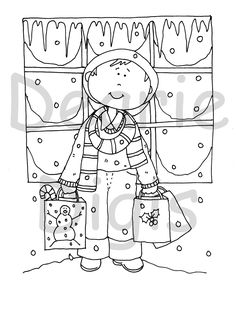 Free Dearie Dolls Digi Stamps: New today on ETSY.....Christmas Shopper Girl and Boy.
