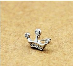 Men's Silver Zirconium Drill Crown Stud Earring ,free shipping,looback,looback.com,$15.50
