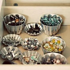 Instead of a mess of jewelry that you never have time to sift through,de-clutter your jewelry drawerwith muffin tins. This simple fix will make finding the perfect accessories a breeze every morning.