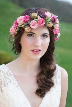 Corona de Flores, diferentes tonos rosa