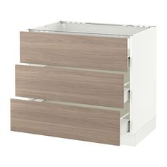 "SEKTION Base cabinet f/cooktop w/3drawers - white, Brokhult walnut effect light gray, 36x24x30 "", Fö - IKEA"