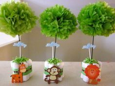 Baby Shower Centerpiece Ideas to set the scene of your baby shower party - Baby shower centerpieces - Safari Centerpieces, Baby Shower Table Centerpieces, Baby Shower Decorations, Centerpiece Ideas, Party Tables, Monkey Centerpiece, Table Decorations, Lion King Baby Shower, Baby Boy Shower