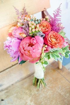 Colorful bridal bouquet with pink and purple details | Our Favorite Wedding Bouquets via /alowcountrywed/