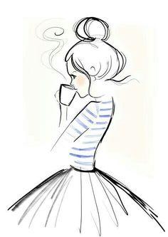 Mondaycoffee, Monday, Coffee, Kera Till, Illustration - l*art - Zeichnung Pencil Art Drawings, Doodle Drawings, Art Drawings Sketches, Cute Drawings, Simple Art Drawings, Winter Drawings, Girl Drawing Easy, Girl Drawings, Good Easy Drawings