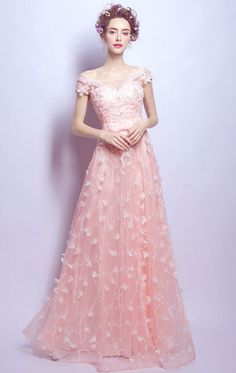 Short Sleeve Formal Gowns Off Shoulder Pink Bridesmaid Gowns a line organza evening wear 2021-2022 Short Sleeve Prom Dresses, Senior Prom Dresses, Floral Prom Dresses, Pink Formal Dresses, Evening Dresses For Weddings, A Line Prom Dresses, Tulle Prom Dress, Prom Party Dresses, Lace Dress