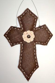Burlap Door Hanger Cross with Crochet Flower by BurlapandStuff, $25.00