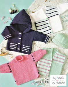 Beginners garter stitch baby sweaters, cardigans and bonnet IMAGE Baby Knitting Patterns, Baby Patterns, Free Knitting, Knitting Needles, Cardigan Pattern, Baby Cardigan, Sweater Cardigan, Stitch Hoodie, Garter Stitch