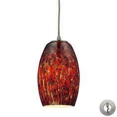 10220/1EMB-LA | Maui 1 Light Pendant In Satin Nickel And Ember Glass - Includes Recessed Lighting Kit - 10220/1EMB-LA