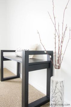 Master Bedroom Decorating Concepts - DIY Crown Molding Set Up This Diy Small Wooden Bench Has A Modern, Minimalist, Multi-Functional Design That Is Perfect For Any Room Customize The Length Of The Seat And Build To Fit Your Space Free Plans. Do It Yourself Furniture, Diy Furniture Plans, Pallet Furniture, Furniture Projects, Rustic Furniture, Furniture Making, Home Furniture, Antique Furniture, Pallet Sofa