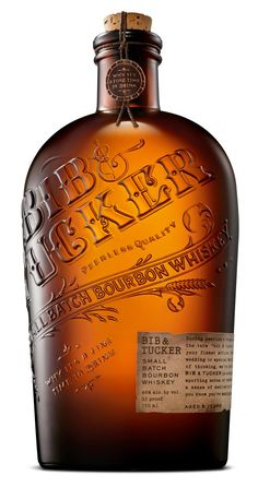 """cool packaging design: amber apothacary style bottle with """"embossed"""" (raised) vintage style lettering (from bib and tucker's small batch bourbon whiskey range) Scotch Whiskey, Bourbon Whiskey, Whiskey Drinks, Bottle Packaging, Bottle Labels, Whisky, Tequila, Vodka, Small Batch Bourbon"""