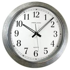 Darby Home Co When it comes to keeping time, a traditional wall clock is timeless. That's why this Momsen Galvanized Metal Wall Clock comes with basic extra-large black numbers and a white dial. With its flat glass lens, this clock is a classic. Silver Wall Clock, Grey Wall Clocks, Silver Walls, Metal Clock, Grey Walls, Clock Wall, Home Office, Office Style, Wall Clock Analog