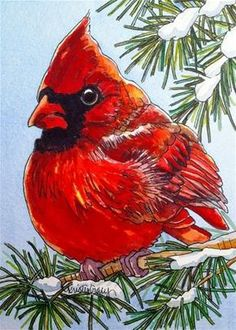 - Original Fine Art for Sale - © Kristy Tracy Christmas Paintings, Christmas Art, Xmas, Watercolor Bird, Watercolor Paintings, Watercolors, Contemporary Abstract Art, Winter Art, Pictures To Paint