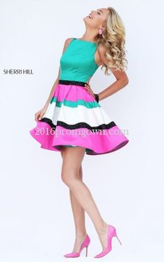2016 Sherri Hill 50355 Multi Toned Satin Short Prom Dresses