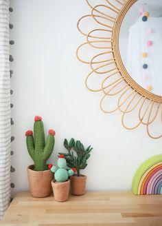 In the Big Kid Room with Sunny Circle Studio - Project Nursery Stuffed Cacti in Girl's Room Childrens Room, Rainbow Bedroom, Rainbow Nursery, Whimsical Bedroom, Project Nursery, Nursery Ideas, Nursery Decor, Bedroom Ideas, Kids Decor