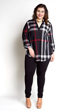 cool Jessica Kane Plus Size Plaid Top - Black (Sizes 16 - 22)