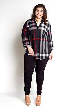 cool Jessica Kane Plus Size Plaid Top - Black (Sizes 16 - 22)