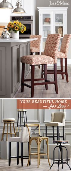 Joss and Main offers barstools for every counter or bar. Fashionable seating at … – Farm House Boho Bedroom Decor Kitchen Stools, Kitchen Redo, New Kitchen, Bar Stools, Kitchen Remodel, Kitchen Design, Counter Stools, Kitchen Island, Joss And Main