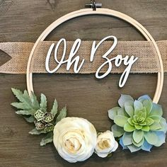 Baby Gift Baskets For Showers And Newborn Gifts Oh Boy Wreath - Succulent Wreath- Baby Shower Wreath - Custom Wreath - Personalized Gift - Hoop Wreath - Farmhouse Decor Baby Shower Boho, Regalo Baby Shower, Fiesta Baby Shower, Baby Shower Invitaciones, Shower Bebe, Baby Shower Brunch, Shower Party, Baby Shower Parties, Baby Shower Themes