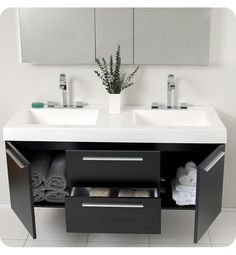 small double sink vanity for small bathroom but still allows for double sink and storage