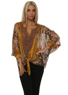 1c3bec9a7b LAURIE   JOE Opera Amber Snakeprint Crochet Top Amber Color