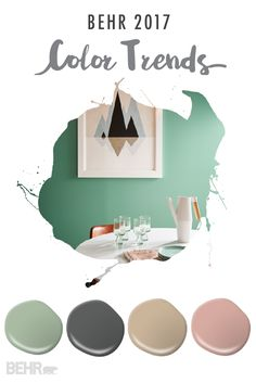 Soft neutrals get a trendy spin thanks to the BEHR 2017 Color Trends. Opt for Everything's Rosy as the perfect blush tone, Midnight Show for a dramatic paint shade, and Balanced as the ideal neutral paint color for your eat-in breakfast nook. Room Colors, Wall Colors, House Colors, Bathroom Paint Colors, Paint Colors For Home, Bd Design, House Design, Trending Paint Colors, Home Trends