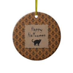 Happy Halloween Damask With Black Cat Christmas Ornaments