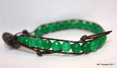 Leather wrapped bracelet faceted emerald green by mvtreasures, $15.00