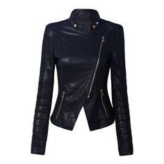 Black Stand Collar Side Zipper Biker Jacket (87 SGD) ❤ liked on Polyvore
