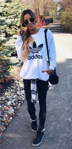 #winter #outfits white Adidas sweatshirt