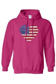 dd34cd30623 Men s Unisex Pullover Hoodie USA Flag Heart Pride American Love -  SHORETRENDZ Sweater Hoodie