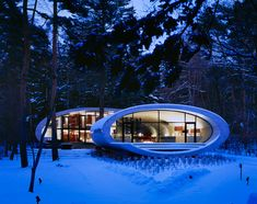 Futuristic Design The Shell House – Nagano Karuizawa, Organic Architecture, Amazing Architecture, Architecture Details, House Architecture, White Building, Building A House, Ultra Modern Homes, Shell House