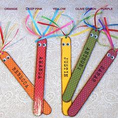 Teacher Gift Bookmark Childrens Custom Name Personalized Yellow Back to School. $5.00, via Etsy.