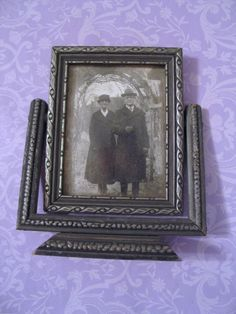 "Victorian Deco Style Vanity 5""x6"" Wood Tilt Swivel Frame w Photo Antique Couple #Victorian #unknown"