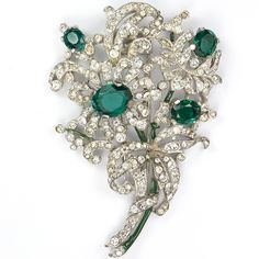 Trifari 'Alfred Phillipe' Pave Emerald and Enamel Four Flower Floral Spray Pin Clip