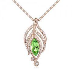 The Leaf Elves Design Austrian Crystal Necklace - Olive