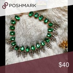 """Lucinda"" Emerald 🍃St. Patty's Day Necklace Perfect for St. Patrick's Day or beyond! Stunning with any outfit. Set in a gold toned setting, this beauty is 15"" with a 2"" extender. Bedecked & Bedazzled Jewelry Necklaces"