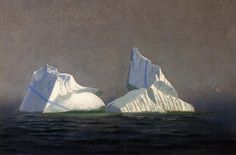 19th Century William Bradford Painting of Icebergs  With all the Titanic talk these days, here are some icebergs, painted by an American Romanticist artist who appreciated their sublimity more than the Titanic's builders.  (can't remember source)