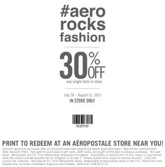 Pinned August 2nd: 30% off a single item at Aeropostale, or online via promo code AEROROCKS coupon via The Coupons App