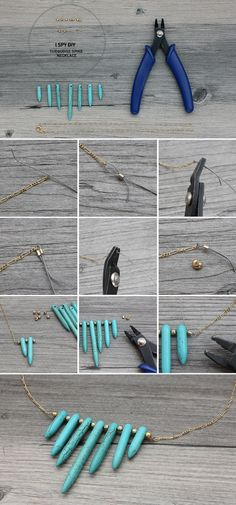 Turquoise Spike Necklace - #diy, Jewelry