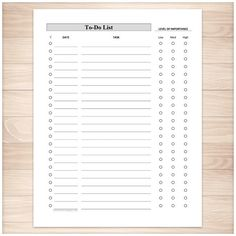 A printable full page To-Do List for your daily personal or business activities. Keep a running list of things you need to do or accomplish. Log the date, the task name, and it's level of importance. There is even a column for marking items off your list as you complete them.