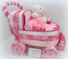 Baby carriage diaper cake!