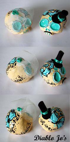 Custom Colours - Wedding Sugar Skull Cake Toppers, Larger set in Duck Egg Blue and black   www.etsy.com/uk/shop/diablojos