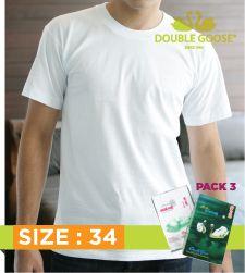213 เสื้อคอกลมบุรุษสีขาว Pack 3 ขนาด 34