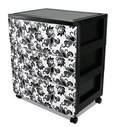 I'm going to try this with my plastic drawer sets.I love how easy it is to organize with plastic drawers, but I hate using them cuz of how ugly they are. Now I can make them into a decorative piece (Diy Vanity Cart) Plastic Drawer Makeover, Plastic Storage Drawers, Storage Bins, Craft Storage, Drawer Storage, Decorating Plastic Drawers, Decorate Plastic Bins, Storage Cart, Closet Storage