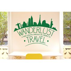 Wanderlust a Very Strong Impulse or Desire to Travel Wall Sticker ($21) ❤ liked on Polyvore featuring home and home decor