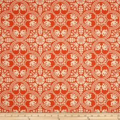 Joel Dewberry Notting Hill Historic Tile Tangerine from @fabricdotcom  Designed by Joel Dewberry for FreeSpirit, this fabric features a tile medallion motif.  Perfect for quilting, apparel and home decor accents.  Colors include cream and tangerine.