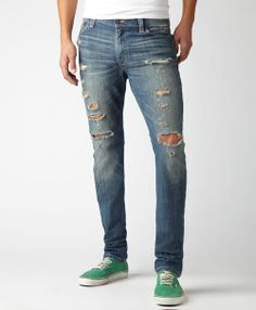 torn jeans mens | Ripped Skinny Levi Jeans