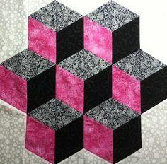 Tumbling Blocks – via Craftsy - quilt patterns Colchas Quilt, Patch Quilt, Tumbling Blocks Quilt, Quilt Blocks, Cute Quilts, Mini Quilts, Hexagon Quilt, Square Quilt, Quilt Block Patterns