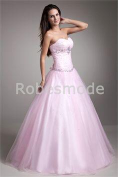 Robe de bal de promo rose en balle décoration perlée en satin