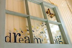 Dream Big Butterfly Resin Craft Window revamped with paint, vinyl and glitter.. Would be cute abover her dress up stuff